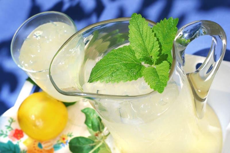 Waterkruik Limonade met een twijg van munt royalty-vrije stock afbeeldingen