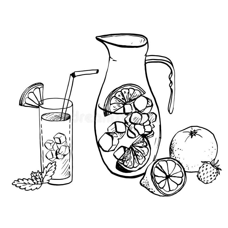 Waterkruik van limonade en drank in een glas vector illustratie