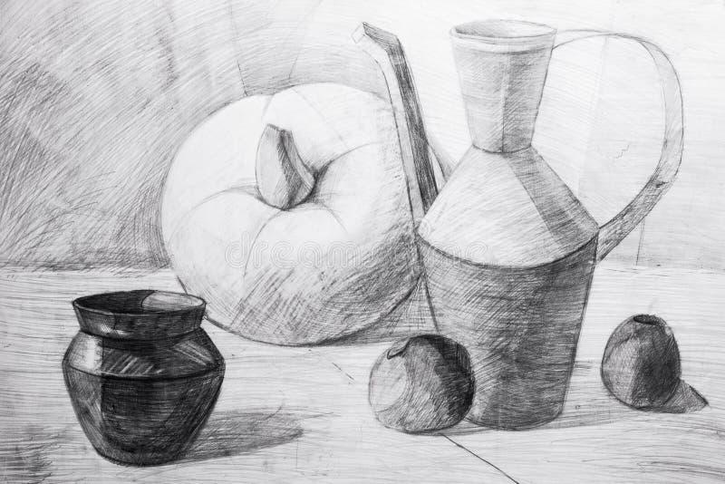 Waterkruiken, appelen en pompoen in potlood worden getrokken dat royalty-vrije stock foto