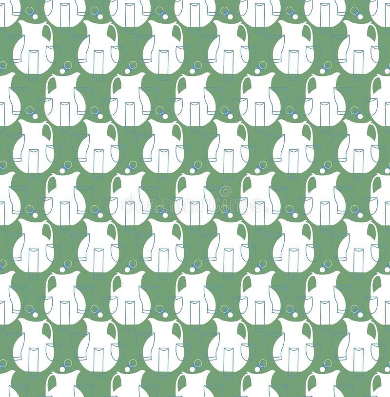Waterkruiken en koppen naadloos patroon vector illustratie