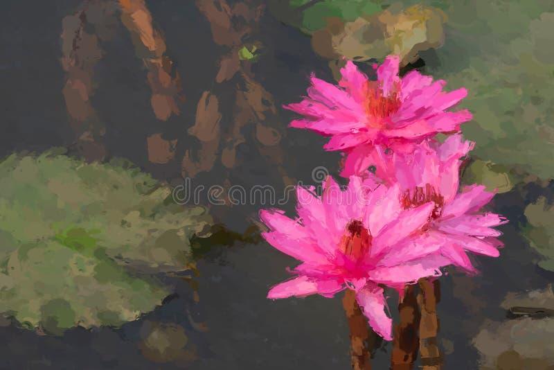 Waterlelie het schilderen effect stock afbeeldingen