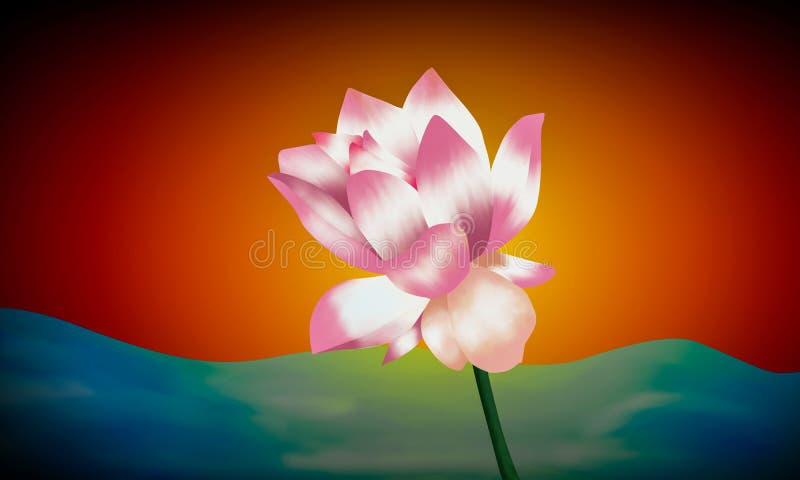Waterlelie kleurrijke illustratie royalty-vrije illustratie