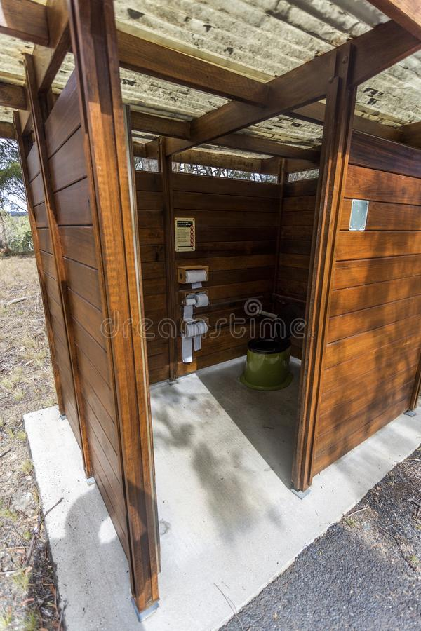 New England National Park – Waterless Toilet. Waterless and environmentally safe septic toilets in use in NSW National Parks, as seen in Wollomombi Gorge stock image