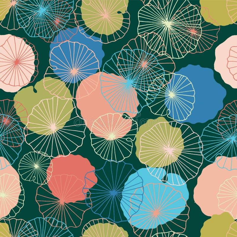Waterlilies或莲花和叶子在池塘无缝的样式背景纹理在一个现代五颜六色的样式 向量 向量例证