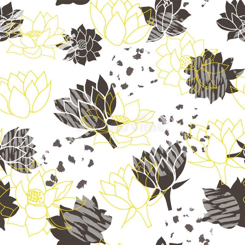 Waterlilies amarelos e cinzentos abstratos na moda ou fundo sem emenda do teste padrão do vetor da flor de lótus ilustração stock