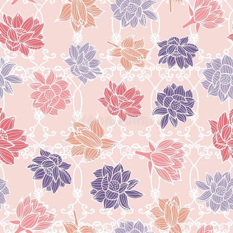 Waterlilies eller lotusblommablommor på textur för bakgrund för modell för trädgårdprydnadgarnering sömlös i en modern färgrik st stock illustrationer