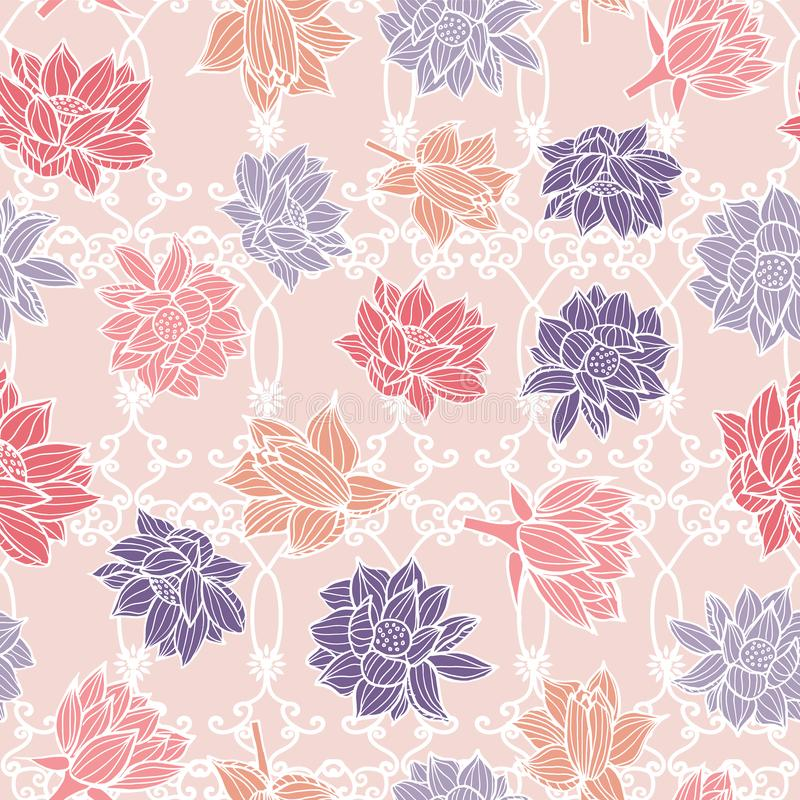 Waterlilies or lotus flowers on garden ornament decoration seamless pattern background texture in a modern colorful style. Vector stock illustration