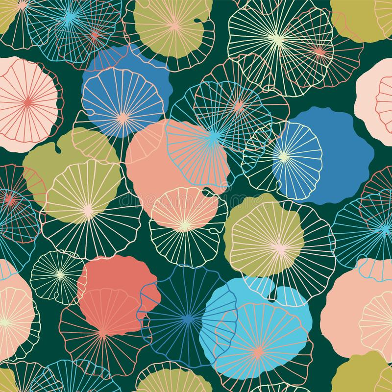 Waterlilies or lotus flowers and leaves in a pond seamless pattern background texture in a modern colorful style. Vector vector illustration