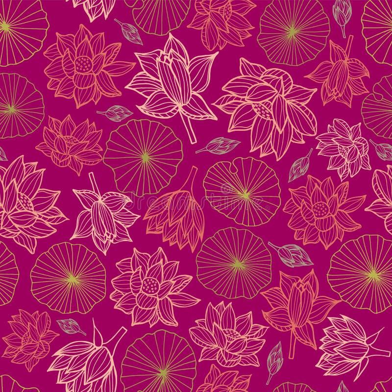 Waterlilies ou de flores e de folhas de lótus textura sem emenda do fundo do teste padrão em um estilo colorido moderno Vetor ilustração stock