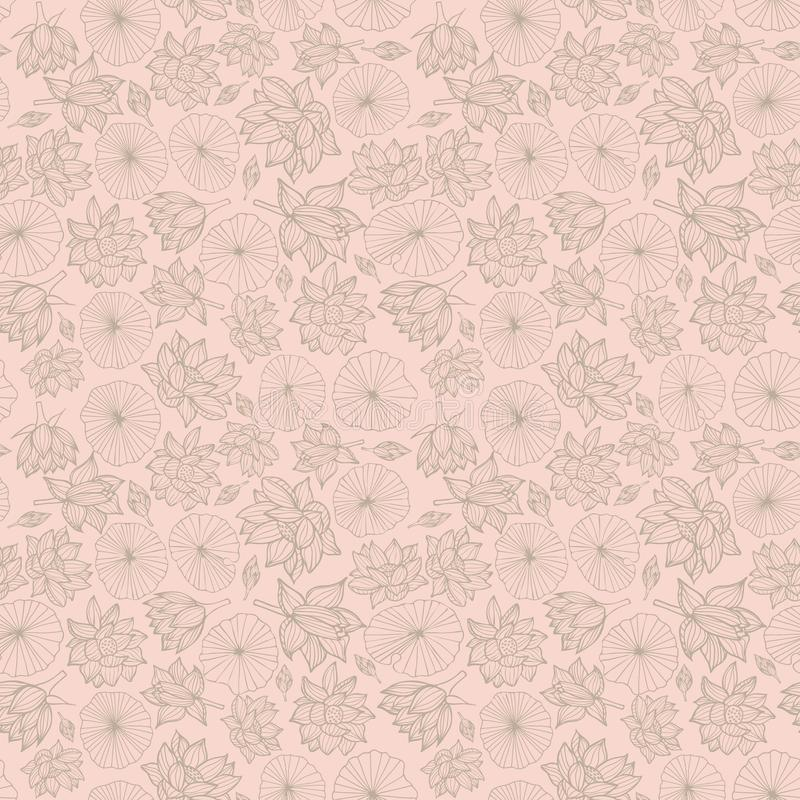 Waterlilies ou de flores e de folhas de lótus textura sem emenda do fundo do teste padrão em um estilo do lineart Vetor ilustração royalty free