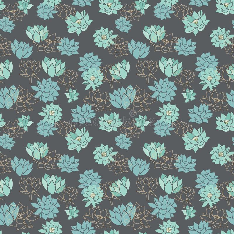 Waterlilies ou flores de lótus azuis modernas elegantes no teste padrão sem emenda do vetor cinzento escuro do fundo ilustração stock