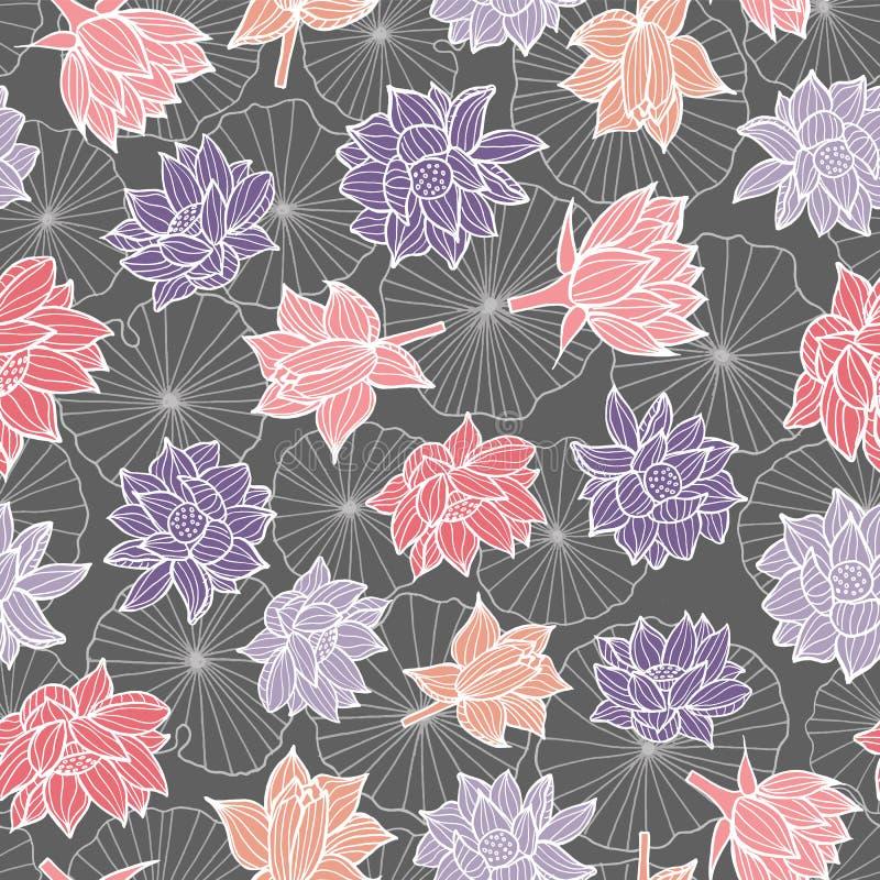 Waterlilies ou flores e folhas de lótus em uma textura sem emenda do fundo do teste padrão da lagoa em um estilo colorido moderno ilustração do vetor