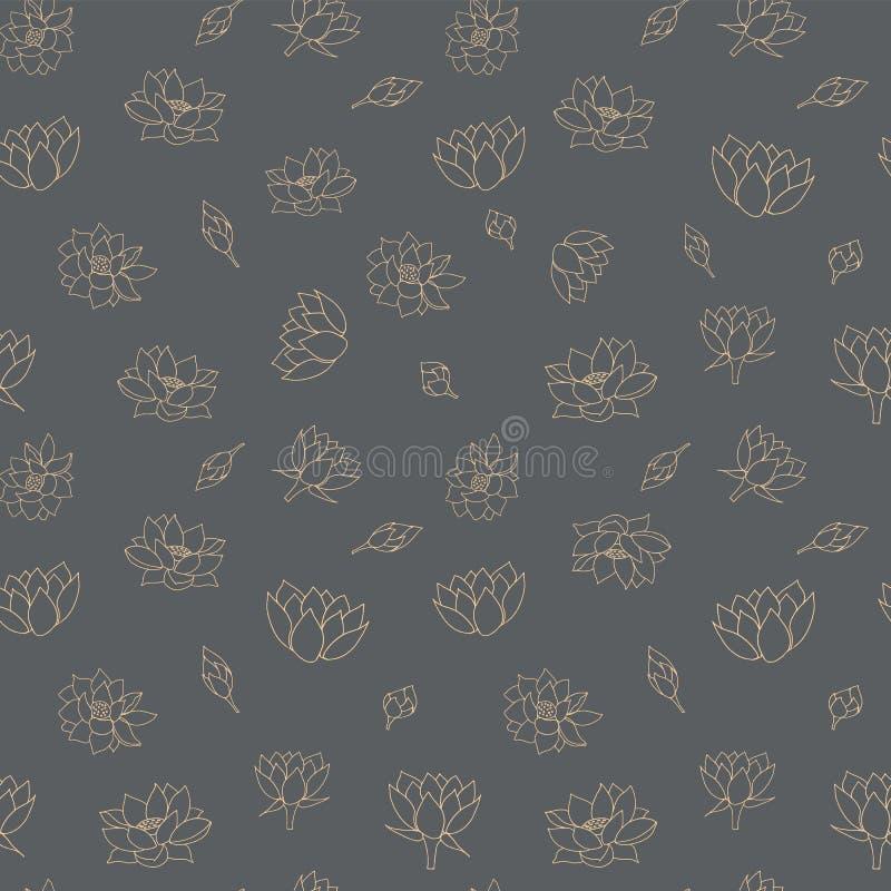 Waterlily开花在lineart样式的无缝的传染媒介样式背景纹理 家庭装饰的,织品,纸物品理想, 皇族释放例证