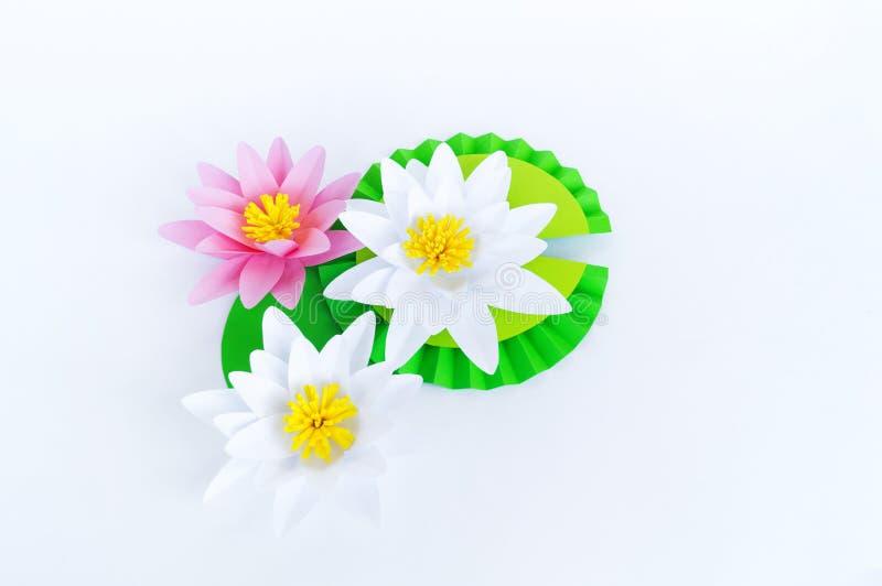Waterlily kwiat robi? papier Bia?y t?o Origami hobby Delikatny p?atek zdjęcia royalty free