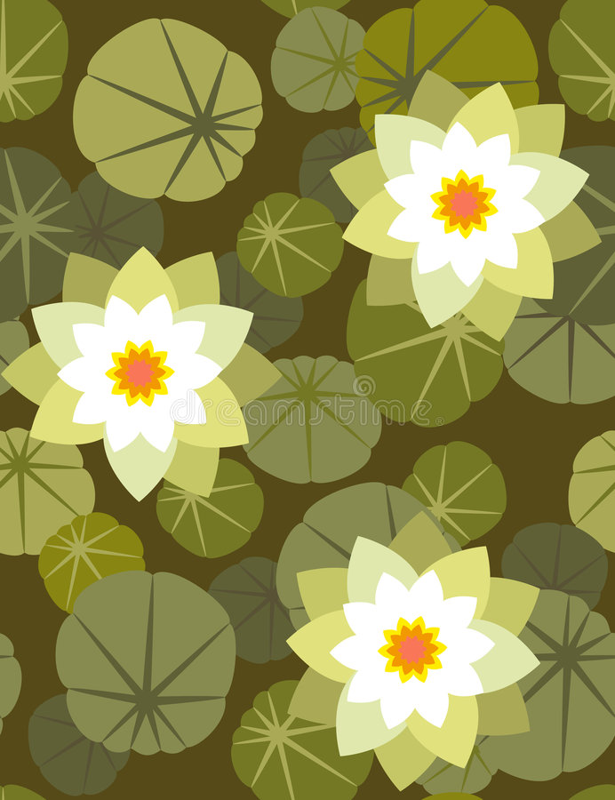 Waterlily - seamless wallpaper royalty free illustration