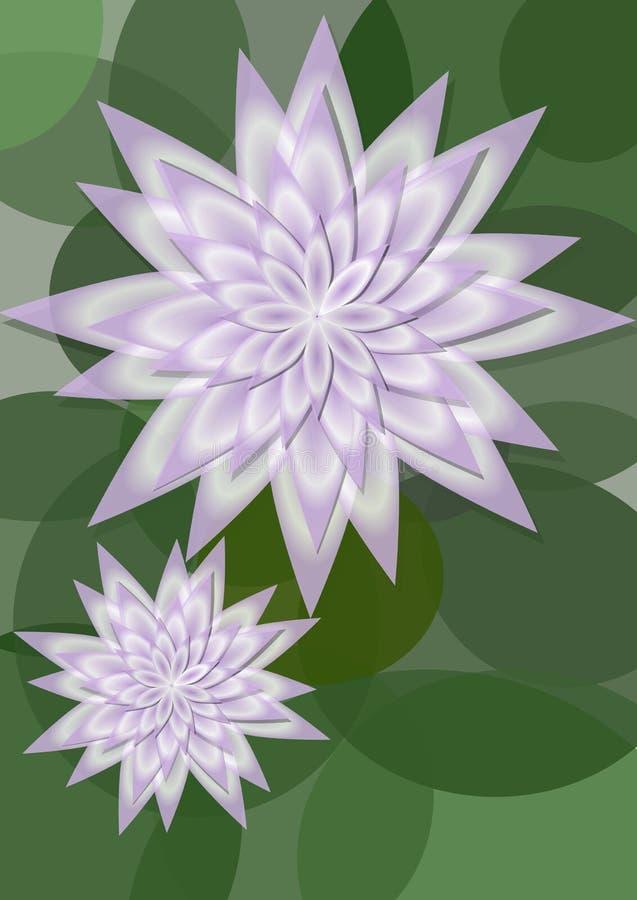 Waterlilyachtergrond met grote en kleine bloem op cirkel groene bladeren, exemplaarruimte voor eigen bericht Mooie natuurlijke ac royalty-vrije illustratie