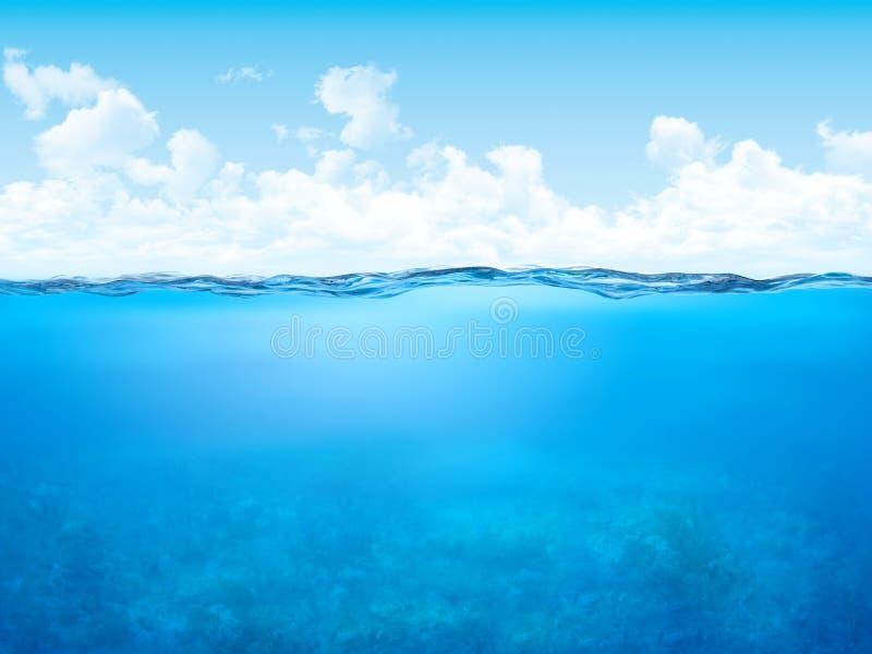 Waterline e fundo subaquático ilustração royalty free