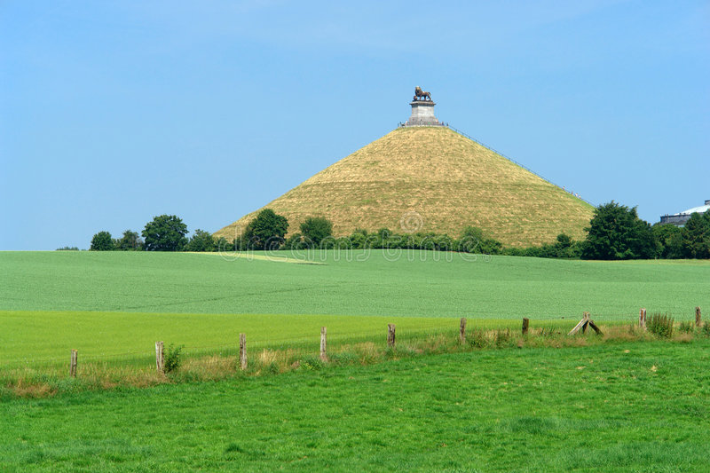 Waterloo battle-field. The famous memorial hill on the battlefield in the rolling countryside of Waterloo, Belgium, where the French emperor Napoleon was royalty free stock images