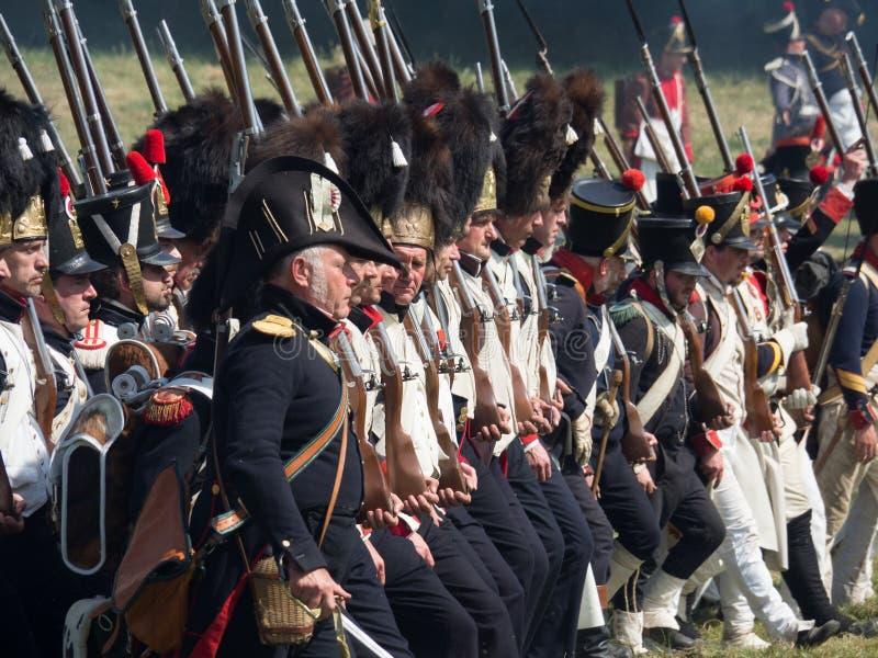 Waterloo, België - Juni 18 2017: Scènes van het weer invoeren van royalty-vrije stock fotografie