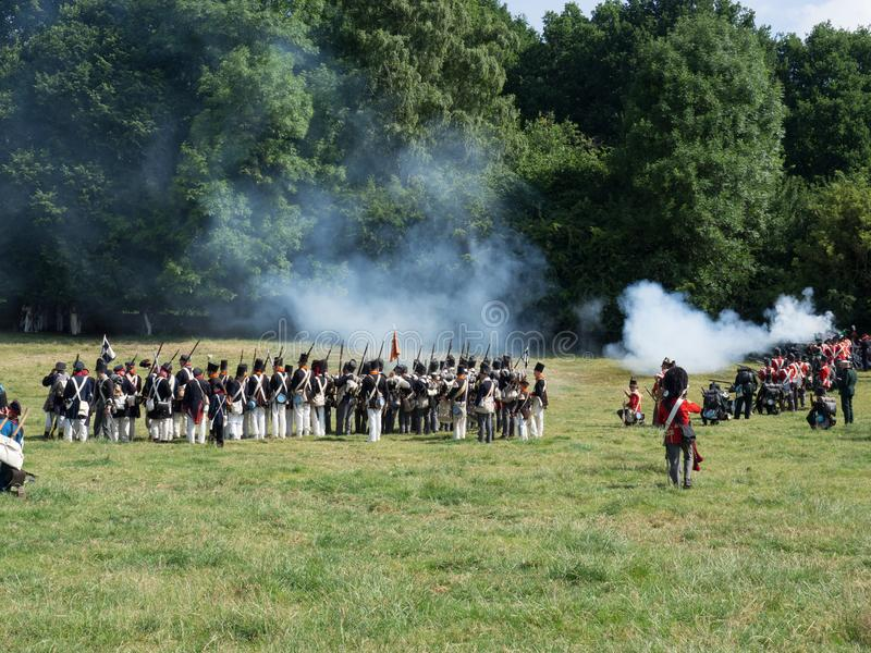 Waterloo, Belgium - June 18 2017: Scenes from the reenactment of. Waterloo, Belgium - June 18 2017: Allied forces fire their muskets during the re-enactment of royalty free stock photos