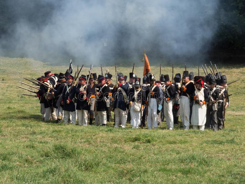 Waterloo, Belgium - June 18 2017: Scenes from the reenactment of. Waterloo, Belgium - June 18 2017: Dutch troops stand in a square formation as a defense against royalty free stock image