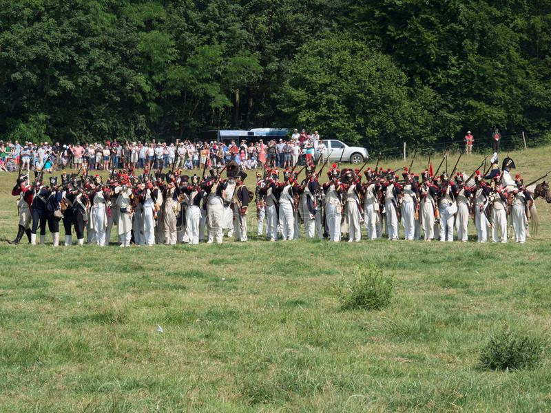 Waterloo, Belgium - June 18 2017: Scenes from the reenactment of. Waterloo, Belgium - June 18 2017: French soldiers firing a musket volley during the re stock photos