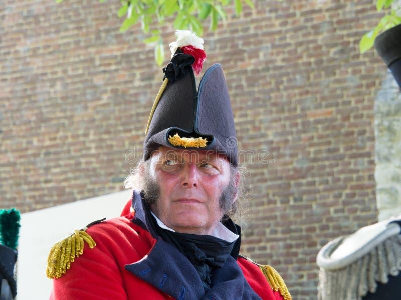 Waterloo, Belgium - June 18 2017: Scenes from the reenactment of. Waterloo, Belgium - June 18 2017: A rider dressed in a historic uniform during the re-enactment stock image