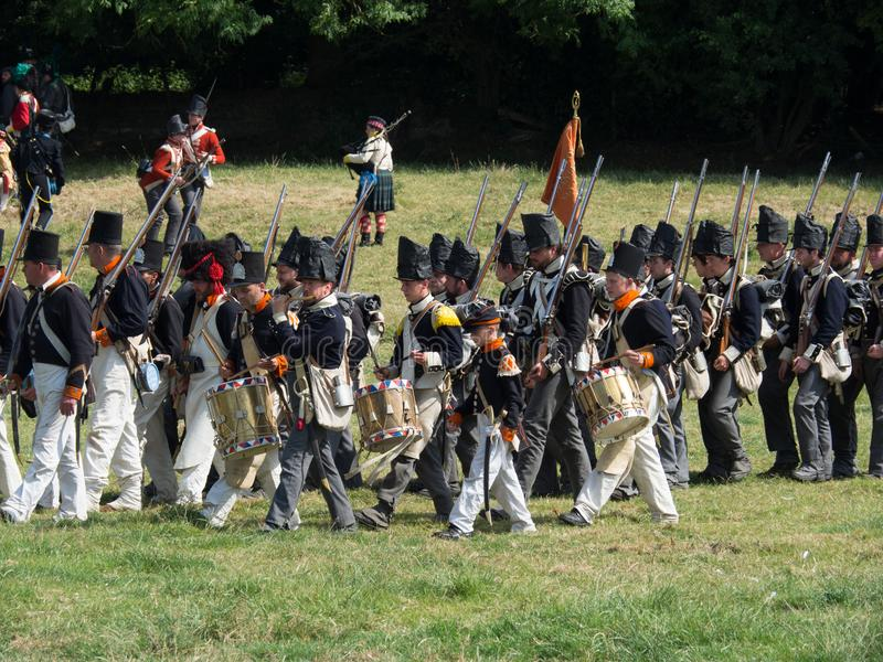 Waterloo, Belgium - June 18 2017: Scenes from the reenactment of. Waterloo, Belgium - June 18 2017: Dutch troops advancing towards the French during the re royalty free stock photography
