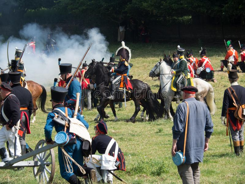 Waterloo, Belgium - June 18 2017: Scenes from the reenactment of. Waterloo, Belgium - June 18 2017: People from all over Europe participate in the re-enactment royalty free stock photos
