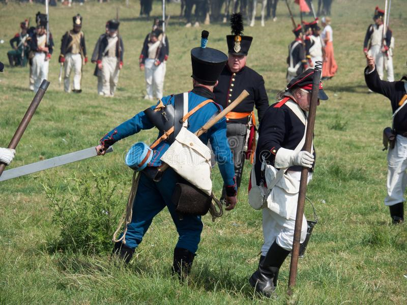 Waterloo, Belgium - June 18 2017: Scenes from the reenactment of. Waterloo, Belgium - June 18 2017: People from all over Europe participate in the re-enactment royalty free stock photo