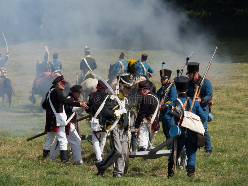 Waterloo, Belgium - June 18 2017: Scenes from the reenactment of. Waterloo, Belgium - June 18 2017: People from all over Europe participate in the re-enactment stock photography