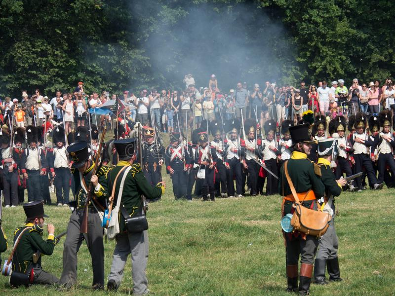 Waterloo, Belgium - June 18 2017: Scenes from the reenactment of. Waterloo, Belgium - June 18 2017: People from all over Europe participate in the re-enactment royalty free stock image