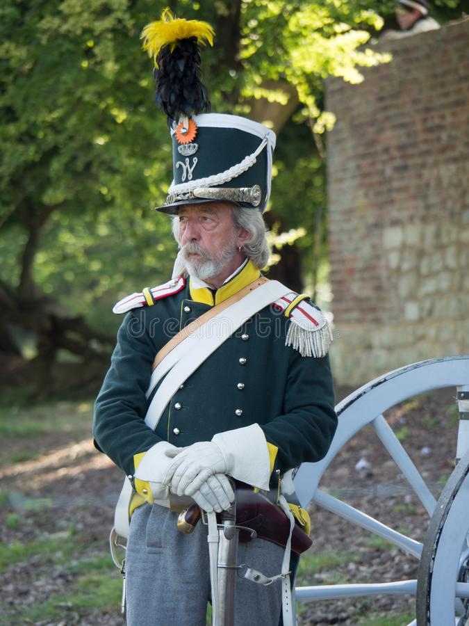 Waterloo, Belgium - June 18 2017: Scenes from the reenactment of. Waterloo, Belgium - June 18 2017: A soldier stands guard at the farm of Hougoumont during the stock image