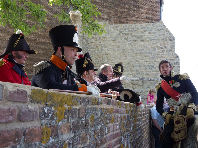 Waterloo, Belgium - June 18 2017: Scenes from the reenactment of. Waterloo, Belgium - June 18 2017: A general gives a briefing to his men during the re-enactment royalty free stock photos