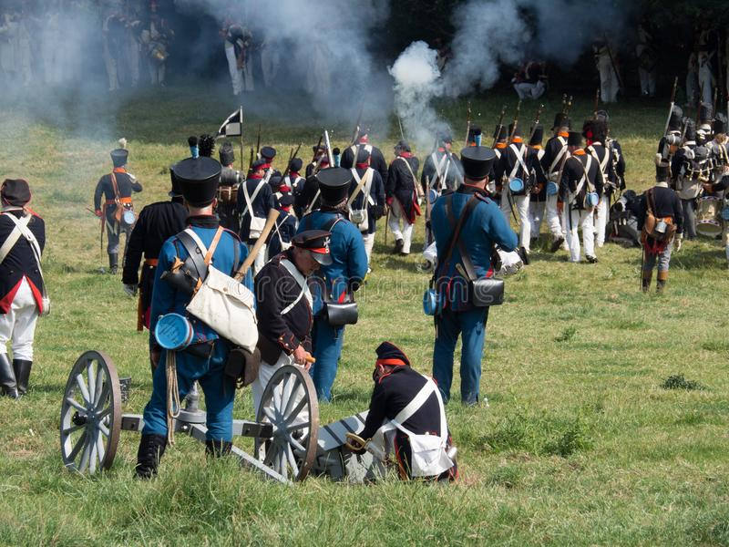 Waterloo, Belgium - June 18 2017: Scenes from the reenactment of. Waterloo, Belgium - June 18 2017: People from all o ver Europe participate in the re-enactment royalty free stock photography