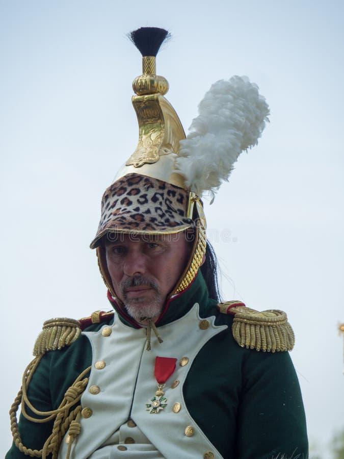 Waterloo, Belgium - June 18 2017: Scenes from the reenactment of. Waterloo, Belgium - June 18 2017: A rider dressed in a historic uniform during the re-enactment stock images