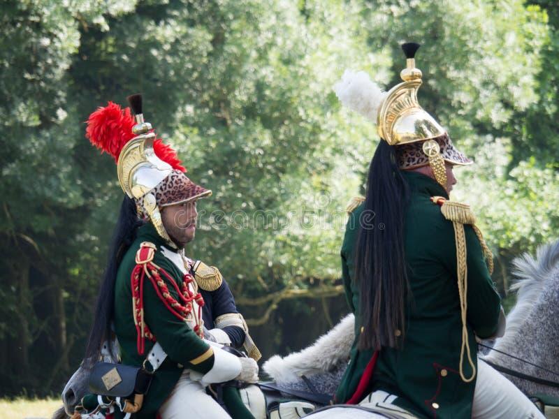 Waterloo, Belgium - June 18 2017: Scenes from the reenactment of. Waterloo, Belgium - June 18 2017: A rider dressed in a historic uniform during the re-enactment stock photo