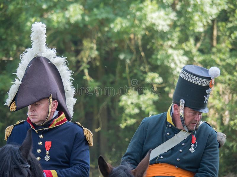 Waterloo, Belgium - June 18 2017: Scenes from the reenactment of. Waterloo, Belgium - June 18 2017: A rider dressed in a historic uniform during the re-enactment royalty free stock image