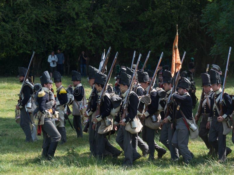 Waterloo, Belgium - June 18 2017: Scenes from the reenactment of. Waterloo, Belgium - June 18 2017: Several figurants dressed in 19the century military equipment stock photo