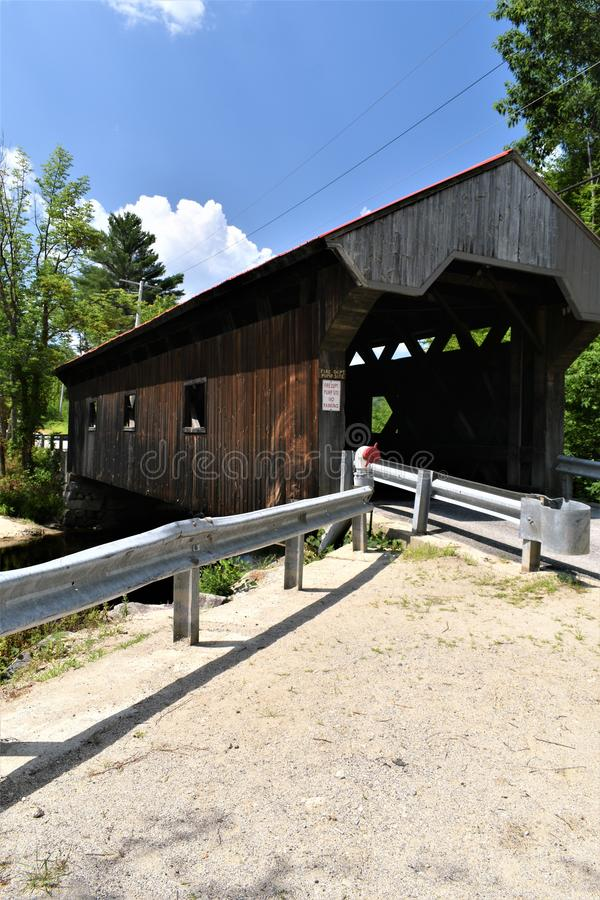 Waterloo Covered Bridge, Town of Warner, Merrimack county, New Hampshire, United States,  New England. Outside view and surrounding landscape of the Waterloo royalty free stock images
