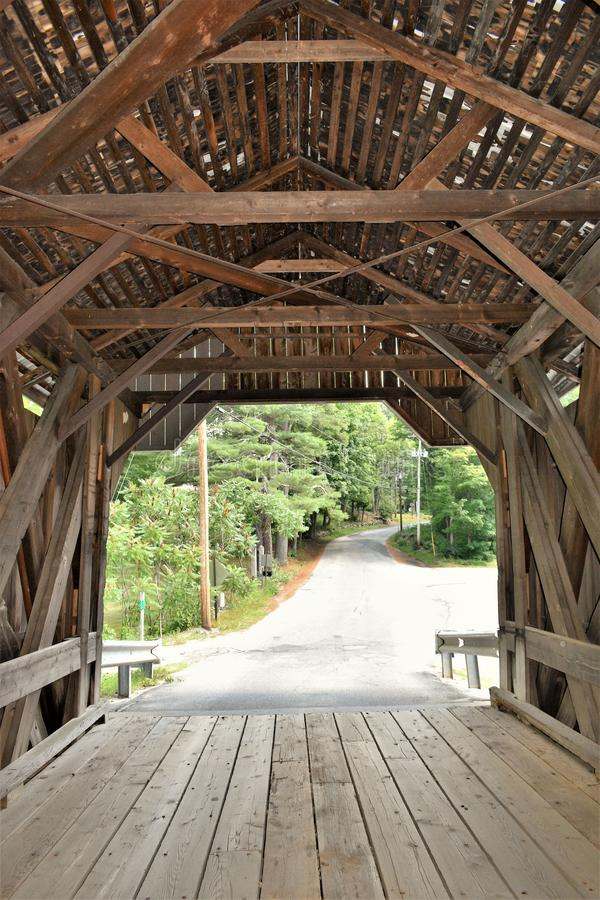 Waterloo Covered Bridge, Town of Warner, Merrimack county, New Hampshire, United States,  New England. Inside looking out the  Waterloo Covered Bridge, Town of stock images