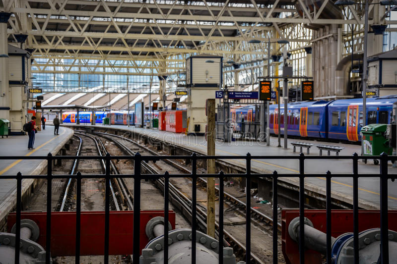 Waterloo Station Empty Platform. A picture of an empty platform at Waterloo station. Picture taken on May 2015 stock images