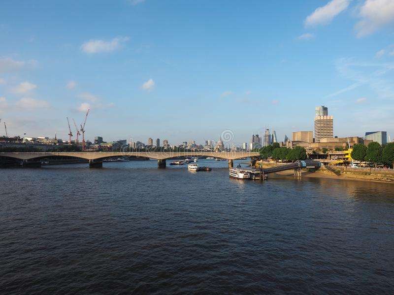 Waterloo zonsondergang in Londen royalty-vrije stock foto's