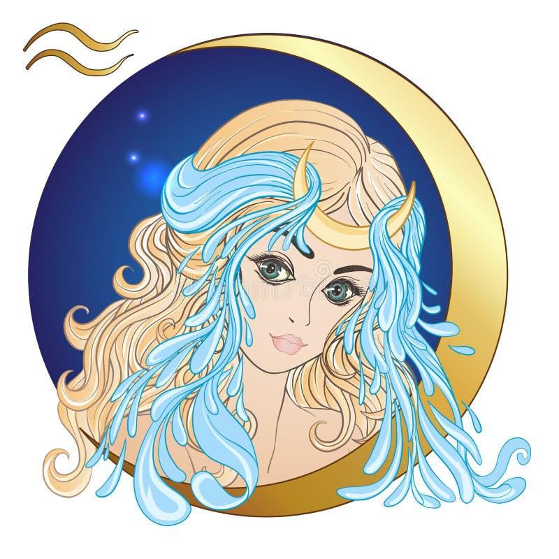 waterman Een jong mooi meisje in de vorm van één van de tekens stock illustratie