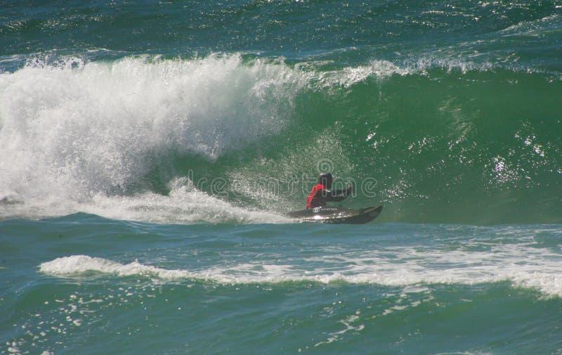 Waterman-Herausforderung - Kayaksurfin Santa Cruz, stockbilder
