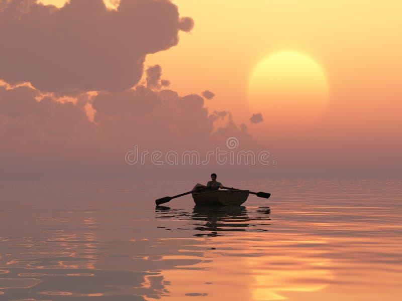 Waterman przy wschód słońca royalty ilustracja