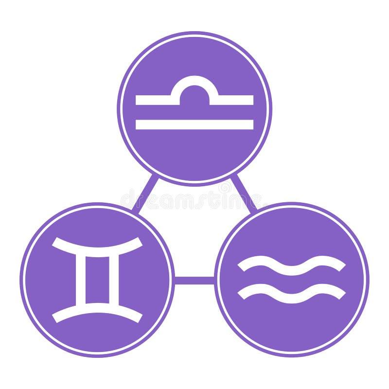Waterman, Tweeling, Weegschaalpictogrammen Vector Astrologisch, Horoscooptekens Dierenriemsymbolen Luchtelement stickers Vector i vector illustratie