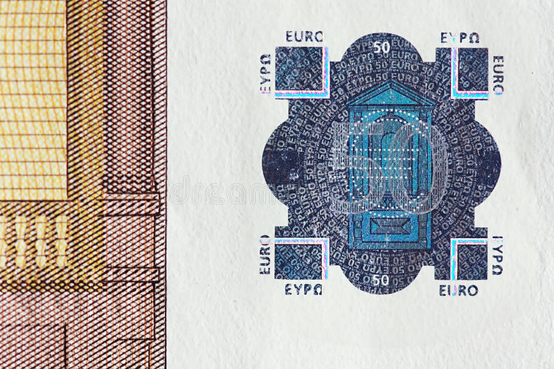 Watermark. Enlarged watermark of a fifty euro banknote royalty free stock photo