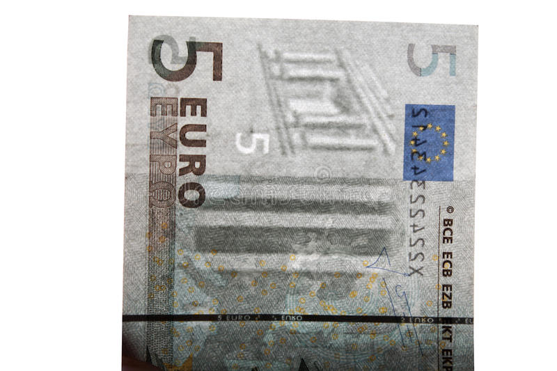 Watermark on 5 euro banknotes. Watermark on a genuine 5 euro banknotes royalty free stock photography