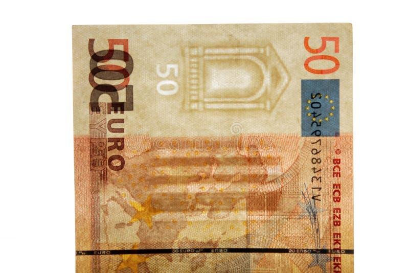 Watermark on 50 euro banknotes. Watermark on a genuine 50 euro banknotes royalty free stock image